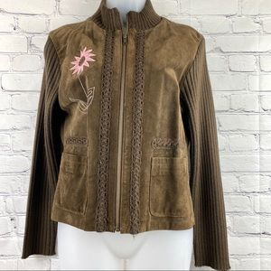 Paraphrase brown suede and knit jacket